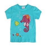 2015年新夏の赤ちゃんの女の子の海馬緑の綿の半袖Tシャツ