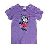 2015 nouveau été baby girl enfants singe coton violet t-shirt à manches courtes