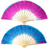 Двойной цвет Шелковый бамбук народных танцев вентилятор китайский ручной работы танец живота вентиляторы