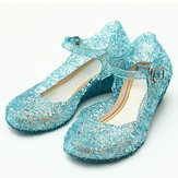 Đông lạnh Elsa Công chúa Crystal Hole Sandals Girls Cosplay Girl Shoes Blue