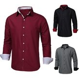 Mens Casual Slim Fit Long Sleeve Shirts Formal Button Up Polo Shirts