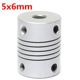 5mm x 6mm aluminium flexibele as koppeling OD19mm x L25mm CNC Stepper Motor Coupler Connector