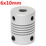 6mm x 10mm Aluminium Flexibele As Koppeling OD19mm x L25mm CNC Stepper Motor Coupler Connector