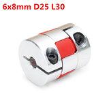 6mm x 8mm Aluminium Flexible Spinne Wellenkupplung CNC Schrittmotor Koppler Verbindungs OD25mm x L30mm
