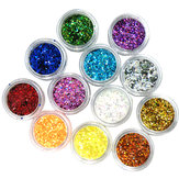 12 colors Hexagon Glitter powder1mm Set for 3D nail Art