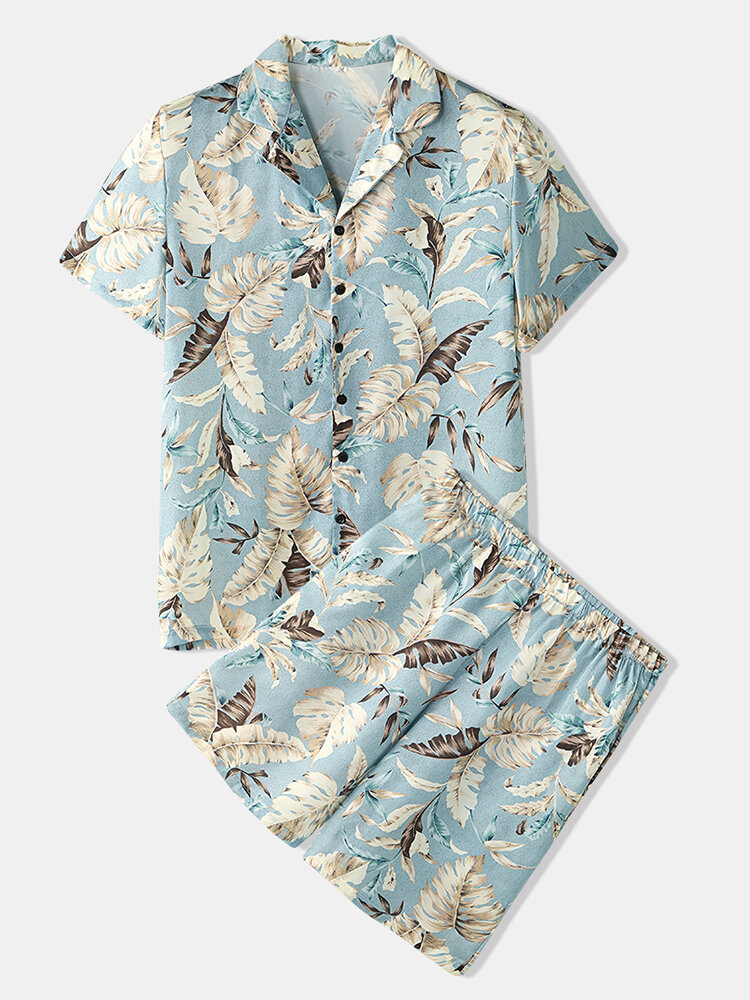 Mens Chinese Style Crane Print Lapel Collar Short Sleeve Home Faux Silk Pajama Set - 1