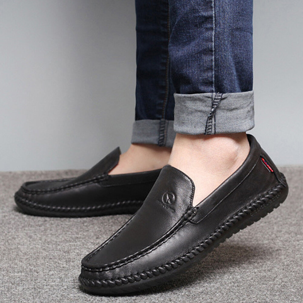 Men Pure Color Slip On Casual Soft Business Leather Oxfords - 9