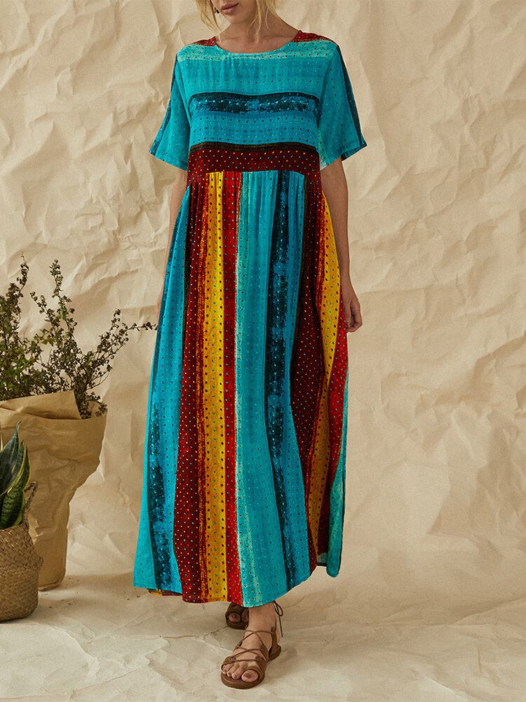 Women Brief V-neck Side Split Cotton Maxi Dress - 3