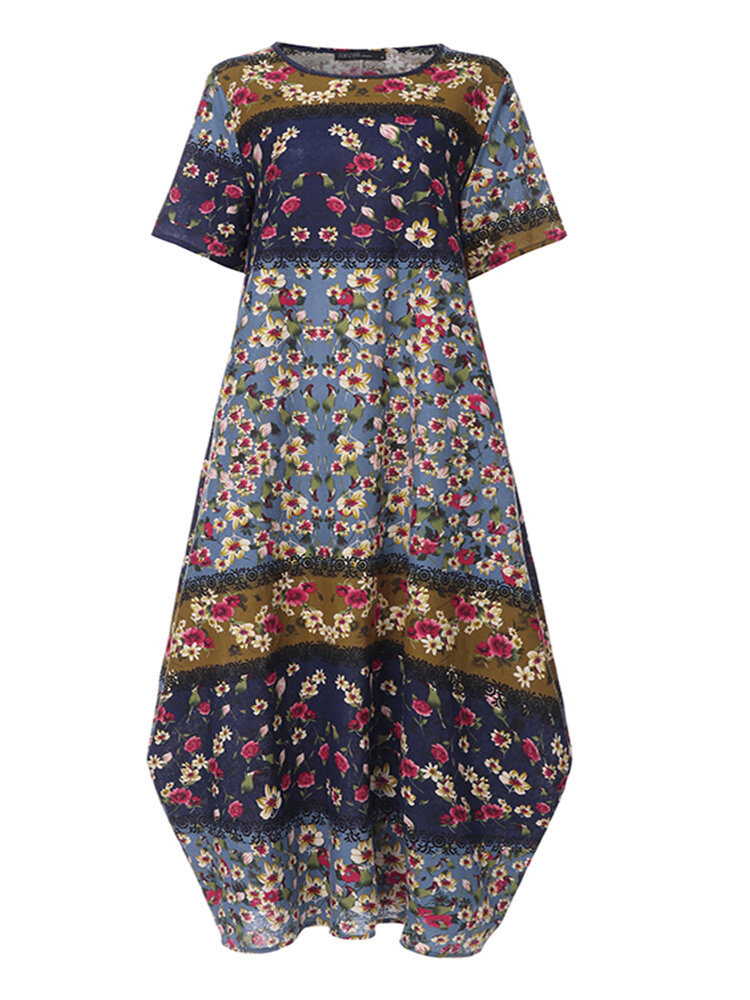Sleeveless O-neck Loose Causal Floral Print Maxi Dress - 5