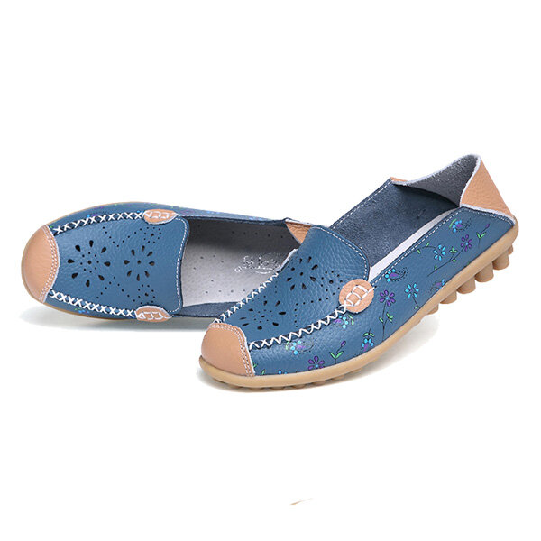 LOSTISY US Size 5-13 Women Soft Comfortable Lace-Up Breathable Casual Leather Flats Shoes - 8