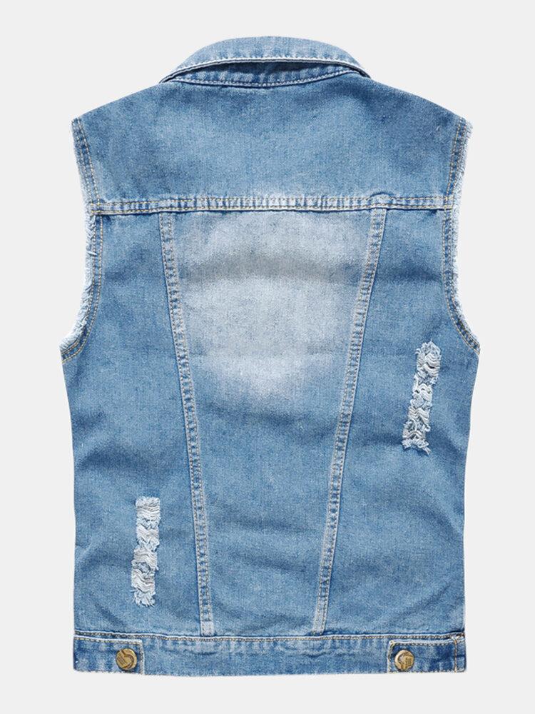 Mens Denim Multi Pockets Metal Zippers Breathable Hiking Outdoor Vest - 2