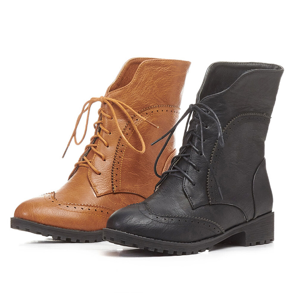 Women Retro Pointed Toe Strappy Chunky Heel Ankle Boots - 5