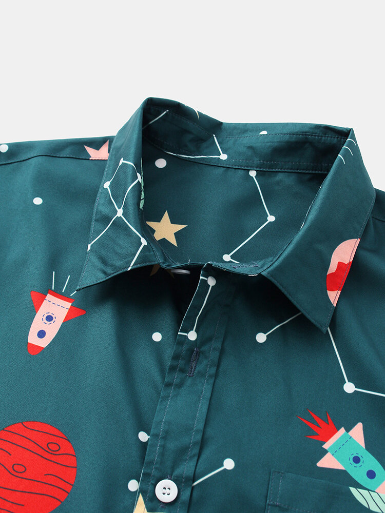 Fashion Starry Sky Cartoon Printing Breathable Short Sleeve Casual Shirts For Men Women - 4