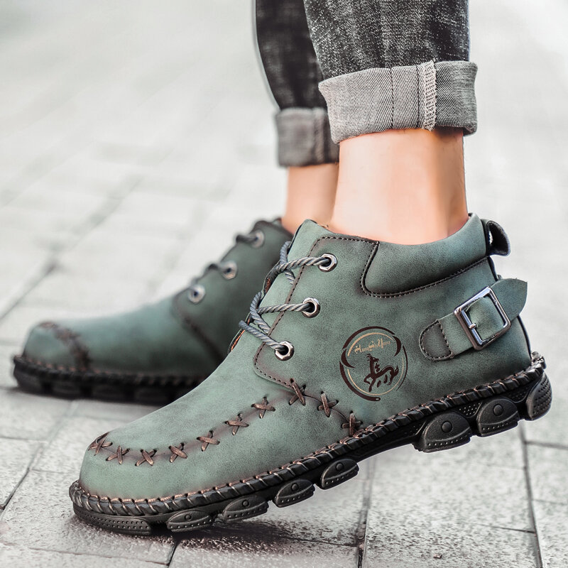 Synthetic Leather Warm Slip Resistant Ankle Boots - 9