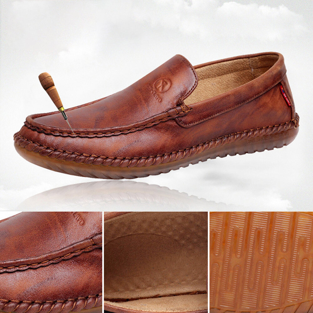 Men Pure Color Slip On Casual Soft Business Leather Oxfords - 4
