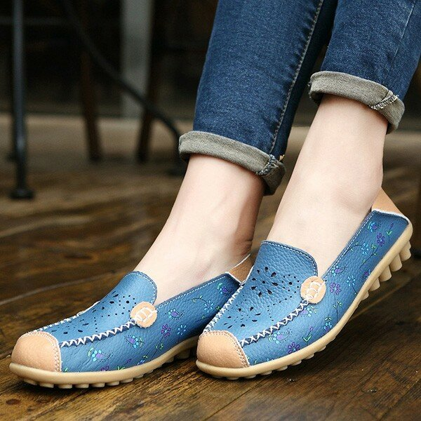 LOSTISY US Size 5-13 Women Soft Comfortable Lace-Up Breathable Casual Leather Flats Shoes - 2