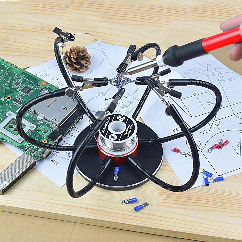 NEWACALOX Soldering Iron Holder Table Clamp 3X-5X Magnifying Glass USB LED Flashlight Soldering Station Welding Repair Tool - 1
