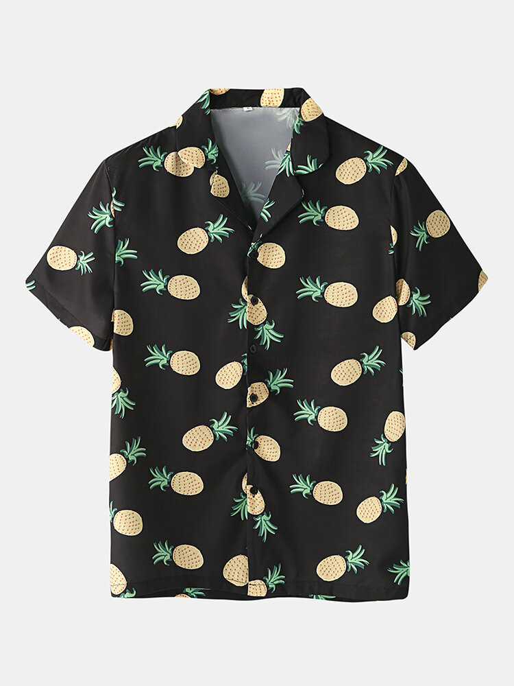 Mens Funny Fruit Hamburger Print Pajama Set Two Pieces Short Sleeve Summer Nightwear - 3