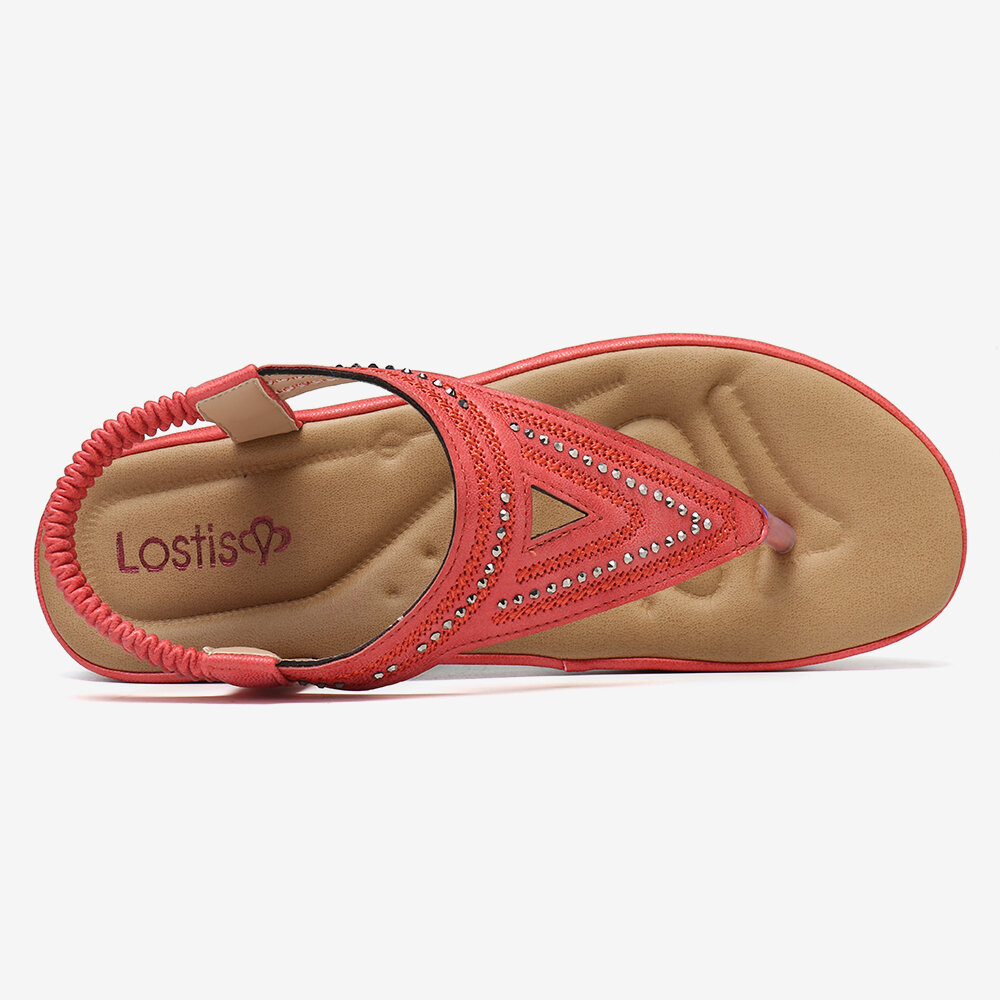 LOSTISY Women Hollow Out Non Slip Soft Summer Roman Sandals - 9
