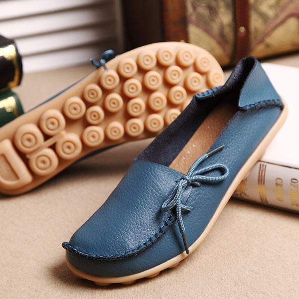 LOSTISY US Size 5-13 Women Soft Comfortable Lace-Up Breathable Casual Leather Flats Shoes - 5