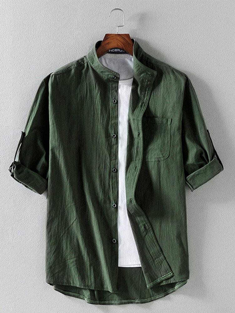 Banggood Design Mens Corduroy Patchwork Colorblock Lapel Curved Hem Shirts With Pocket - 1