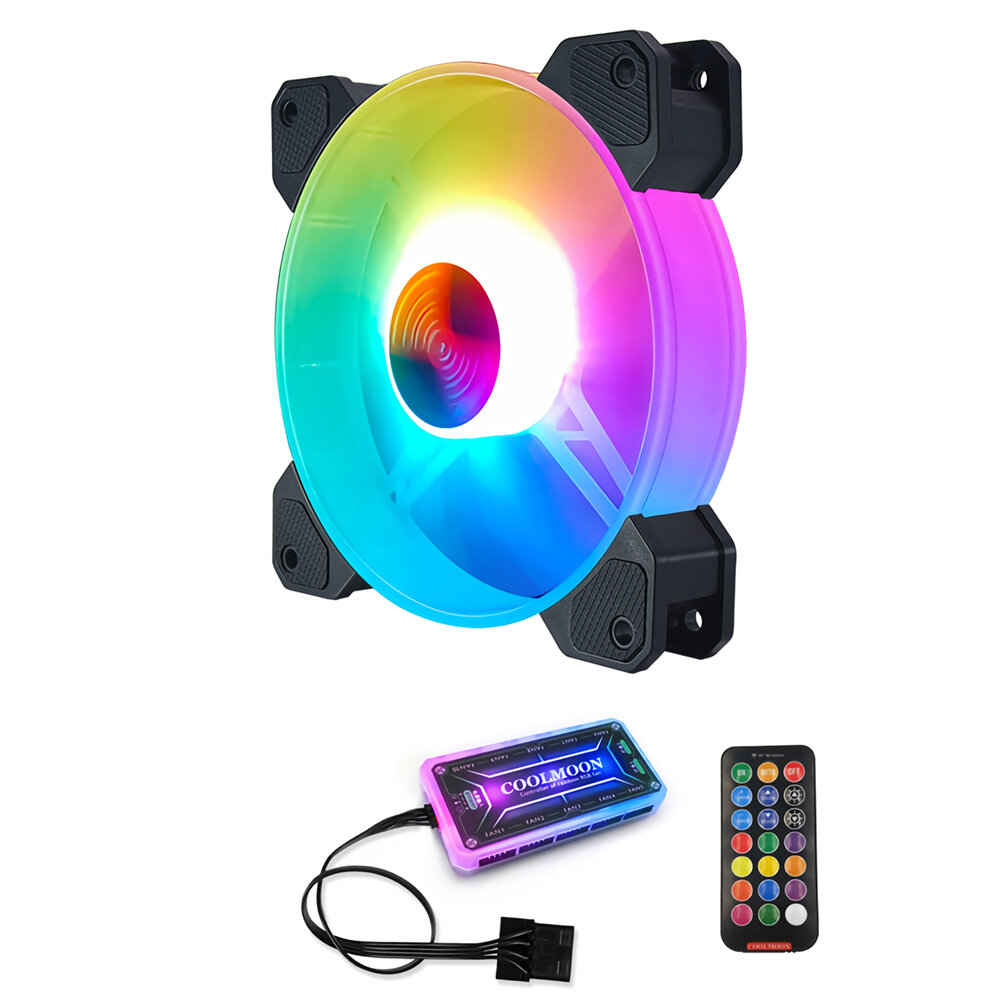 Coolmoon 4PCS 12cm Multilayer Backlit RGB CPU Cooling Fan PC Heatsink with the RF Wireless Remote Control - 3