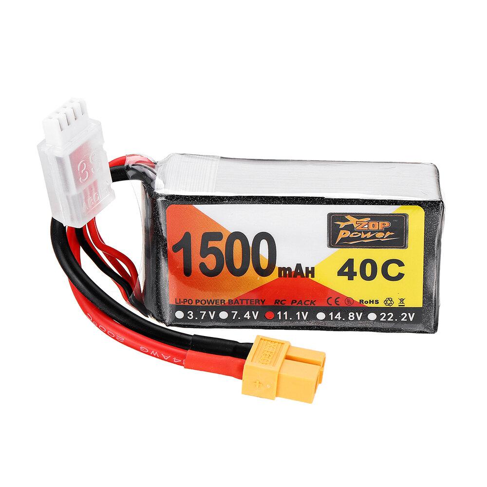 ZOP Alimentazione 11.1V 1500mAh 40C 3S Batteria Lipo XT60 Spina - 1