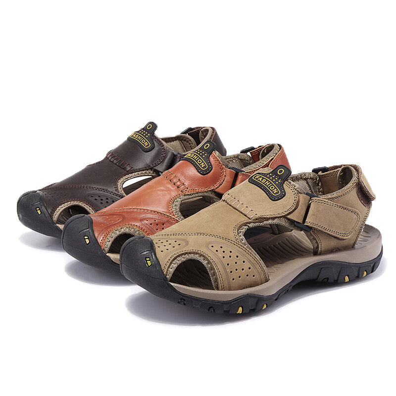 Summer Outdoor Leisure Men's Sandals Leather Breathable Beach Shoes - 1