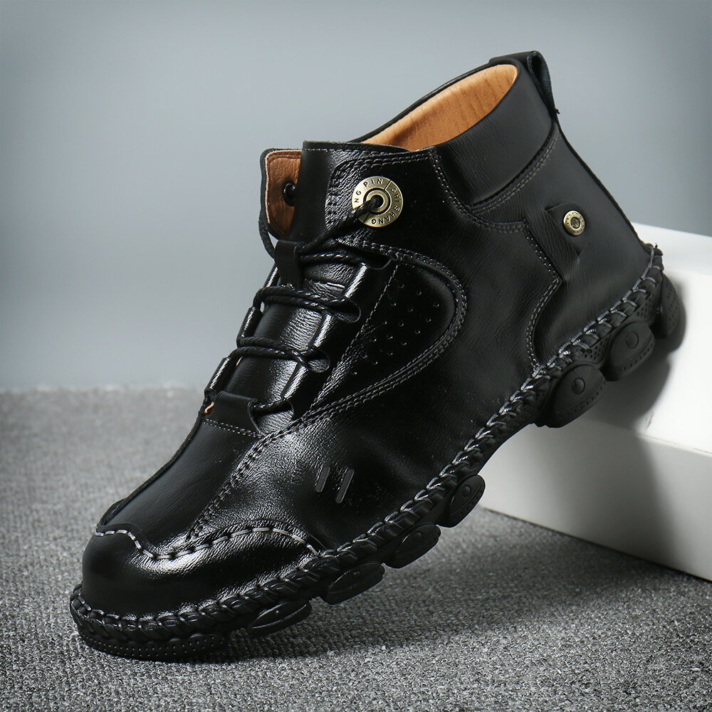 Men Retro Non-slip Casual Leather Boots - 4