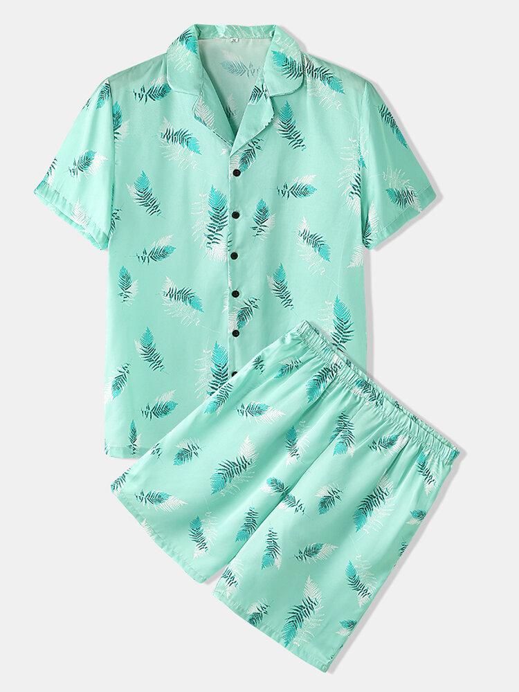 Men Solid Color Onesies Pajamas Viscose Breathable Jumpsuit - 1
