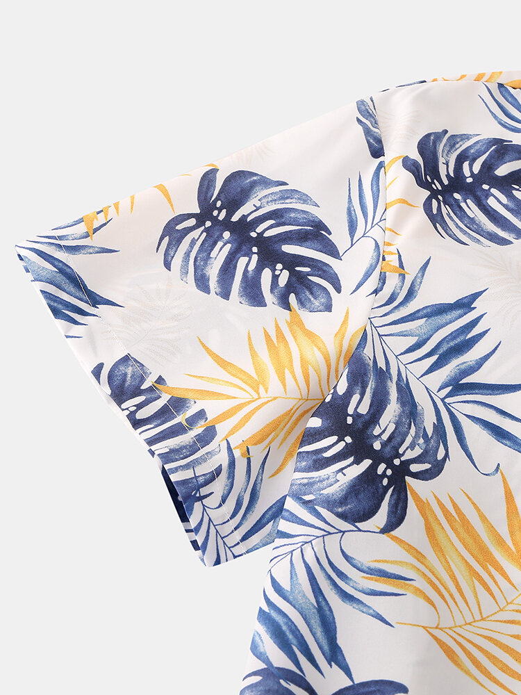 Mens Cartoon Fruit Print Revere Collar Short Casual Smoth Sleeve Pajama Set - 6