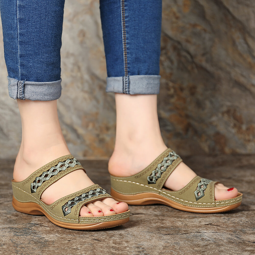 Women Bohemia Toe Ring Slip On Casual Summer Flat Sandals - 7