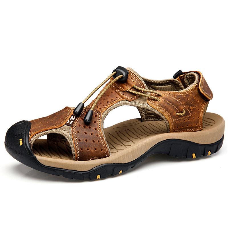 Men's Cowhide Mesh Large Size Breathable Soft Bottom Non-slip Sandals - 1