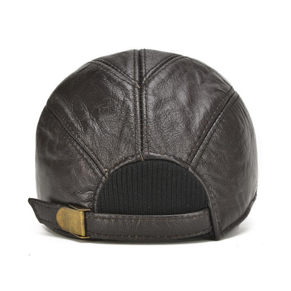 First Layer Cowhide Men's Leather Beret Hats - 7