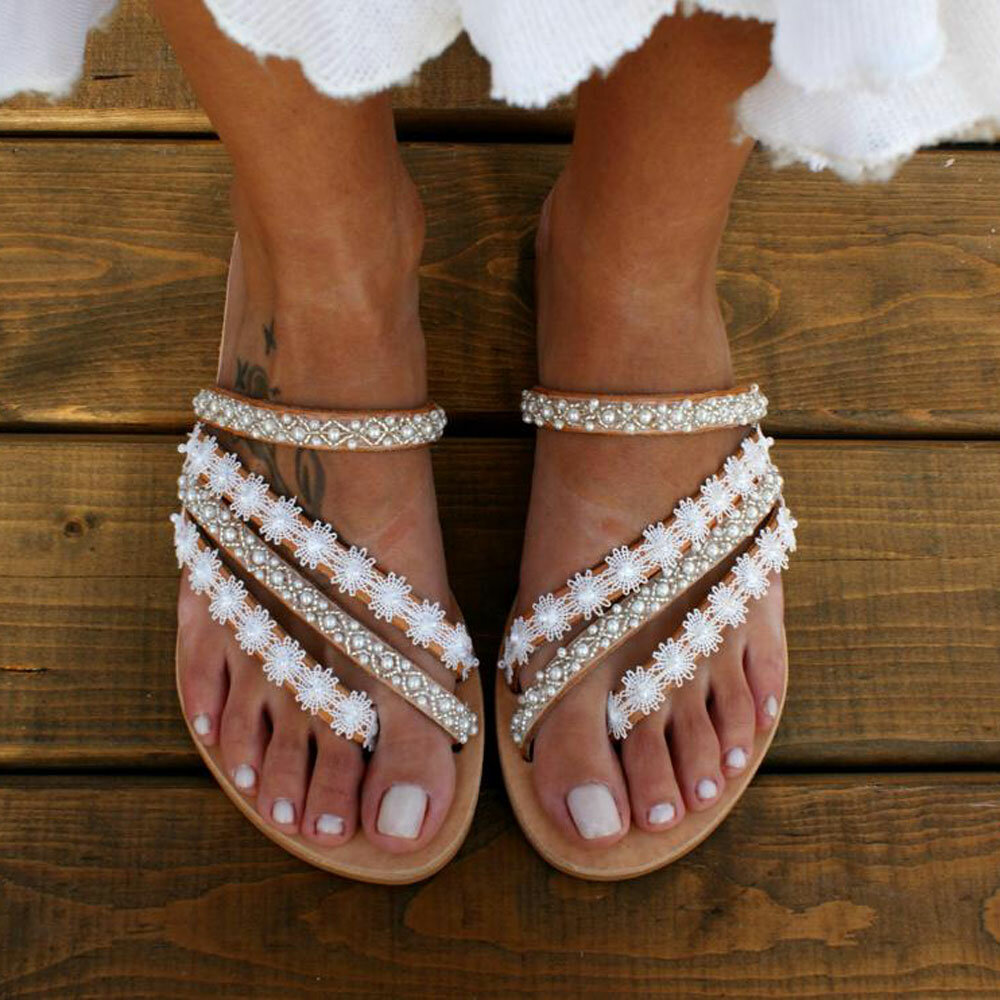 Women Large Size Braided Open Toe Summer Beach Flat Sandals - 1