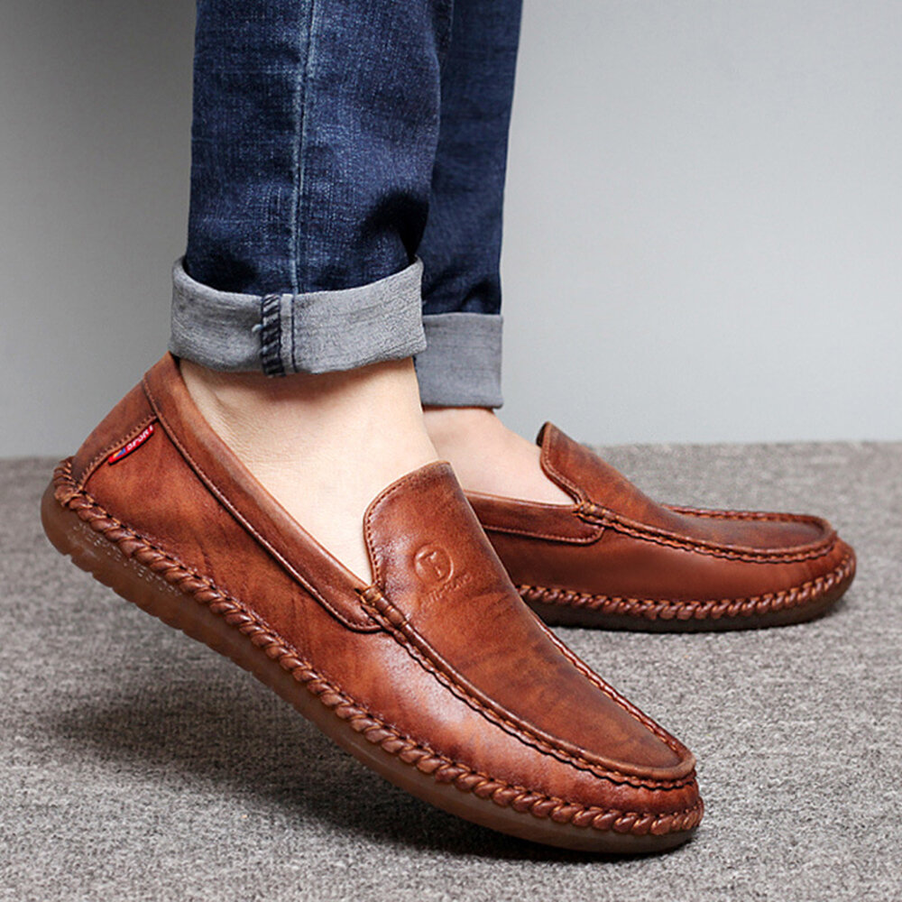 Men Pure Color Slip On Casual Soft Business Leather Oxfords - 10