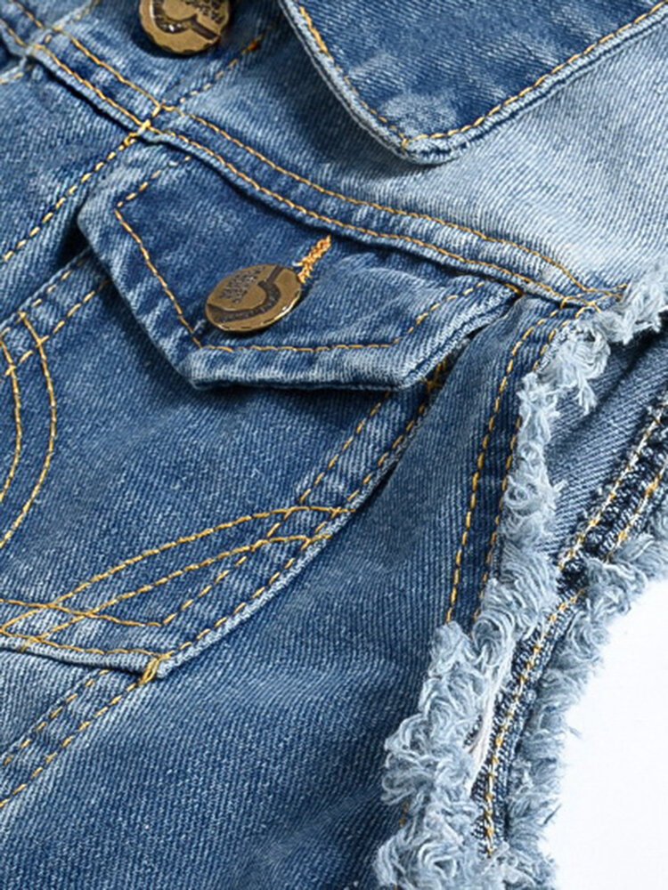 Mens Denim Multi Pockets Metal Zippers Breathable Hiking Outdoor Vest - 4