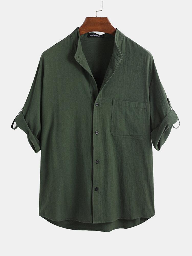 Banggood Design Mens Corduroy Patchwork Colorblock Lapel Curved Hem Shirts With Pocket - 2