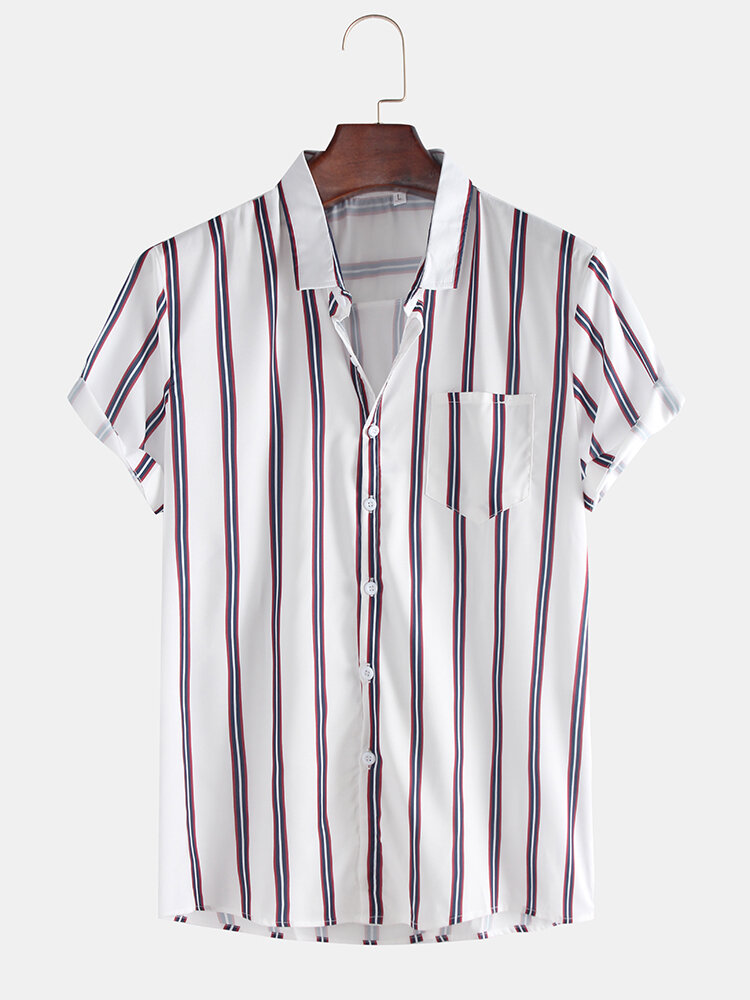 Mens Fashion Breathable Multi Colors Stripe Chest Pocket Short Sleeve Casual Shirts - 1