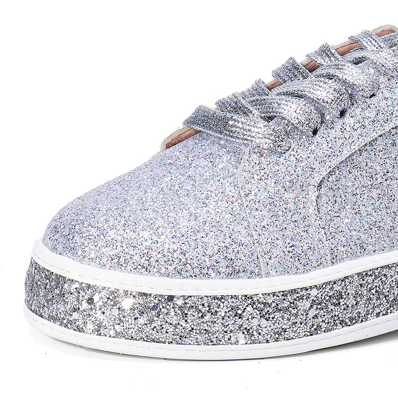Femmes Printemps Sequin Glitter Bling Sneakers Casual Lace Up Flats Platform Chaussures - 6