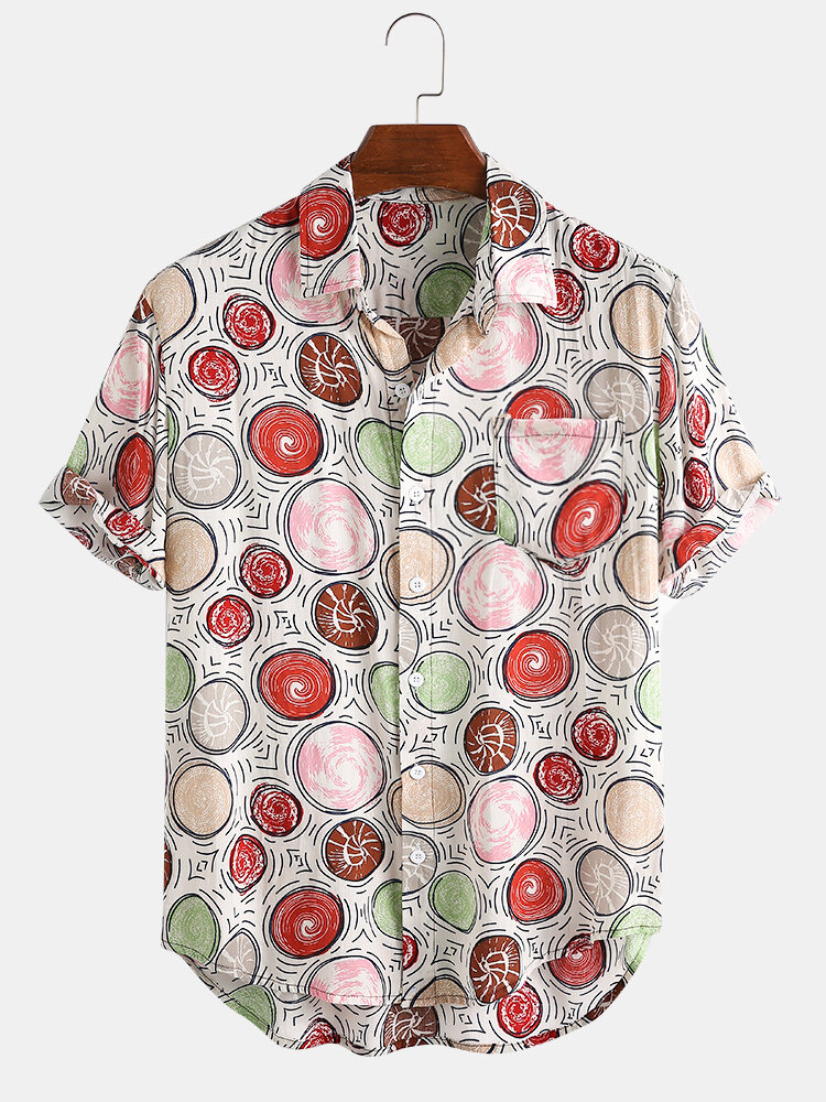 100% Cotton Colorful Circle Print Chest Pocket Short Sleeve Casual Shirts - 1