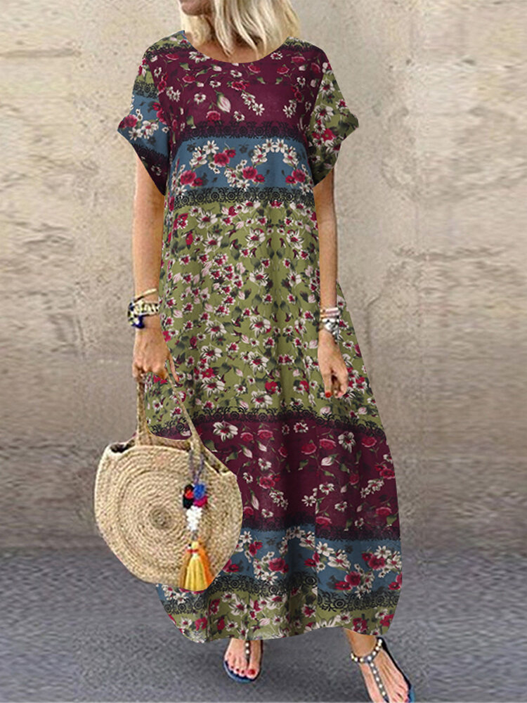 Sleeveless O-neck Loose Causal Floral Print Maxi Dress - 1