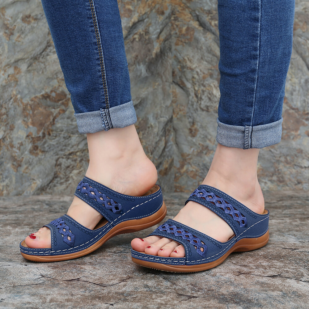 Women Bohemia Toe Ring Slip On Casual Summer Flat Sandals - 9
