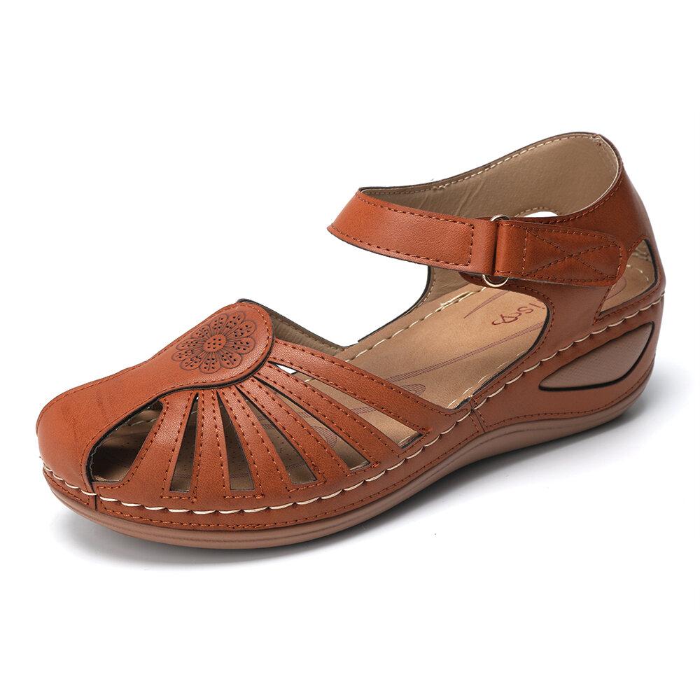 Women Plus Size Roman Hook Loop Open Toe Casual Flat Sandals - 1