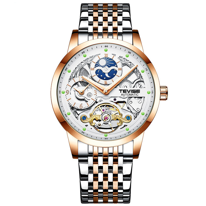 GUANQIN GJ16147 Rectangle Creative Style Men Wrist Watch Genuine Leather Band Automatic Mechanical Watch - 4