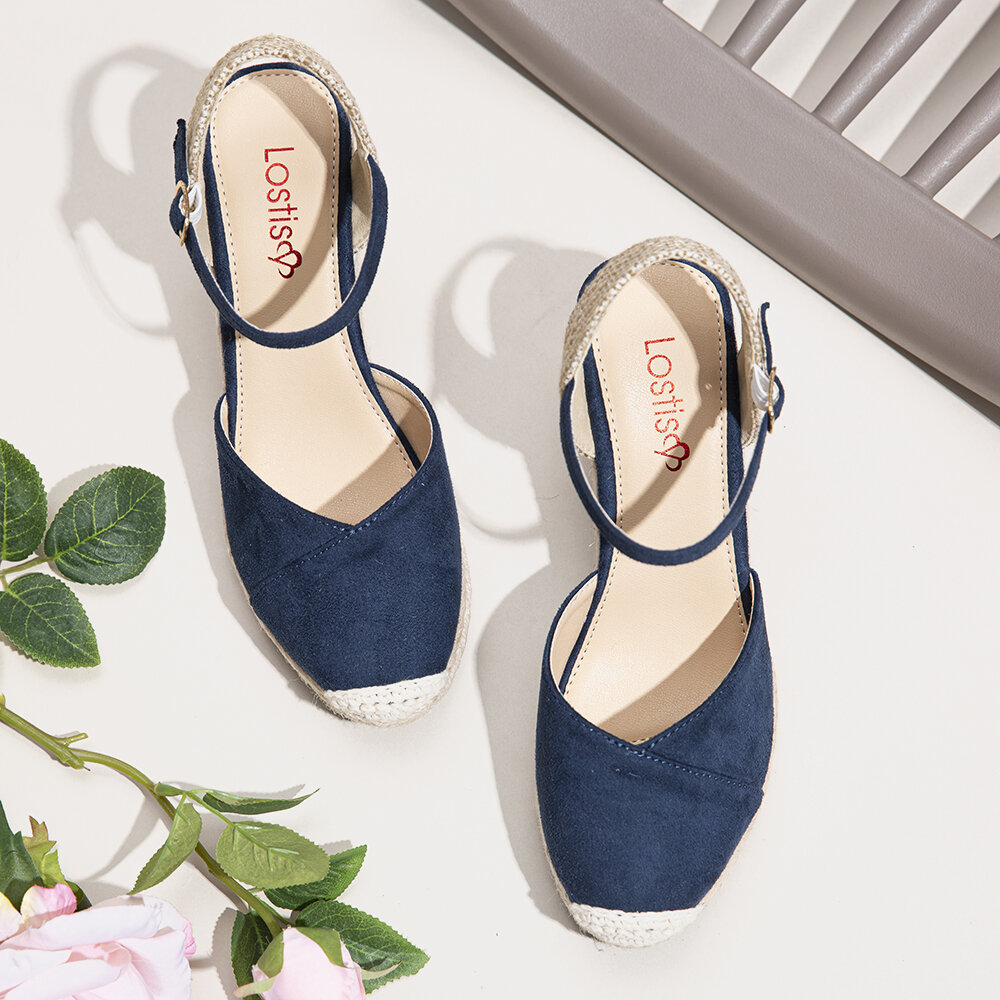 LOSTISY Women Hollow Out Breathable Casual Comfy Backless Flats Sandals - 8
