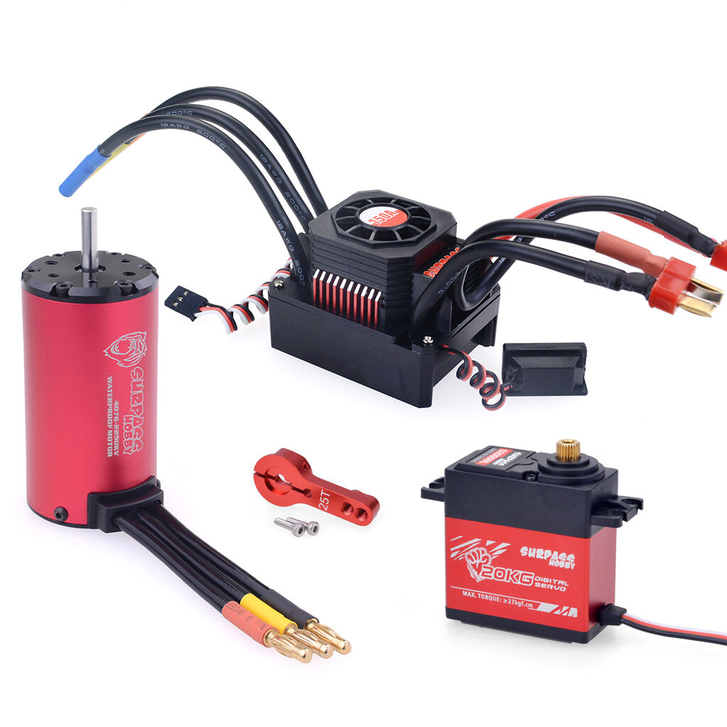 Surpass Hobby Waterproof F540 V2 Sensorless Brushless Motor with 60A ESC for 1/10 RC Vehicles - 1