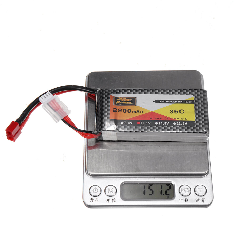 ZOP Power 11.1V 2200mAh 35C 3S Lipo Batería T Plug para modelos RC - 9
