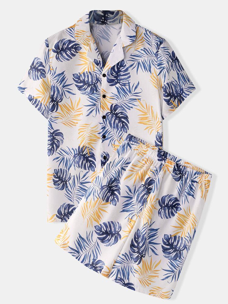 Mens Cartoon Fruit Print Revere Collar Short Casual Smoth Sleeve Pajama Set - 1