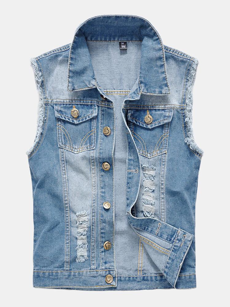 Mens Denim Multi Pockets Metal Zippers Breathable Hiking Outdoor Vest - 1